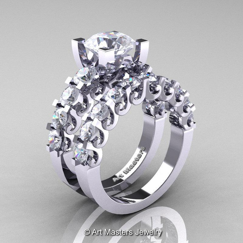 Mariage - Modern Vintage 14K White Gold 3.0 Ct White Sapphire Designer Wedding Ring Bridal Set R142S-14KWGWS