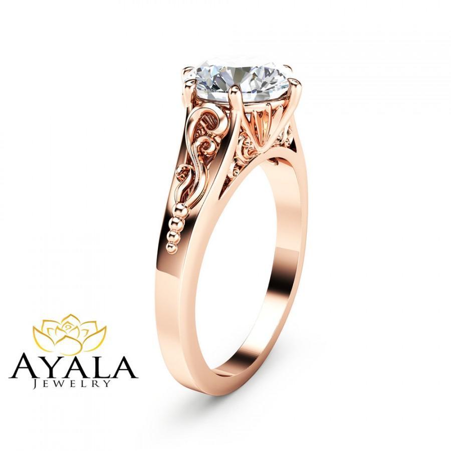 Свадьба - 2CT Moissanite Engagement Ring 14K Rose Gold Moissanite Solitaire Ring Unique Alternative Engagement Ring