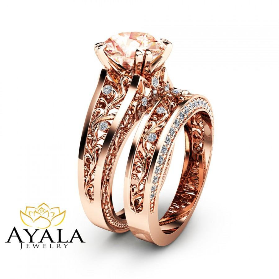 Rose Gold Morganite Engagement Ring Set Unique 2 Carat Morganite Ring With Ma