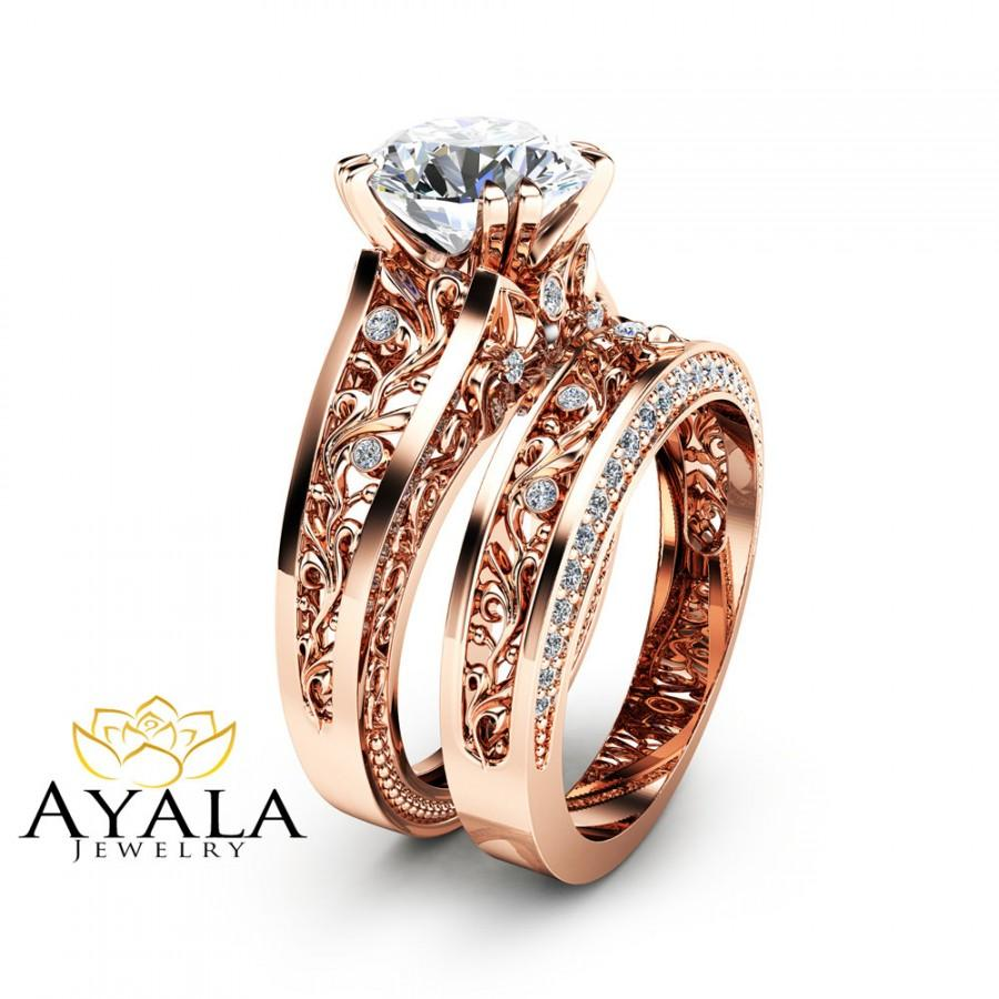Rose Gold Moissanite Engagement Ring Set Unique 2 Carat Moissanite Ring With