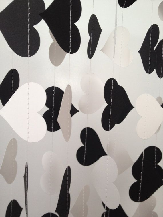 Black White 10 Ft Heart Paper Garland Party Decorations Birthday Wedding Bridal Shower Baby