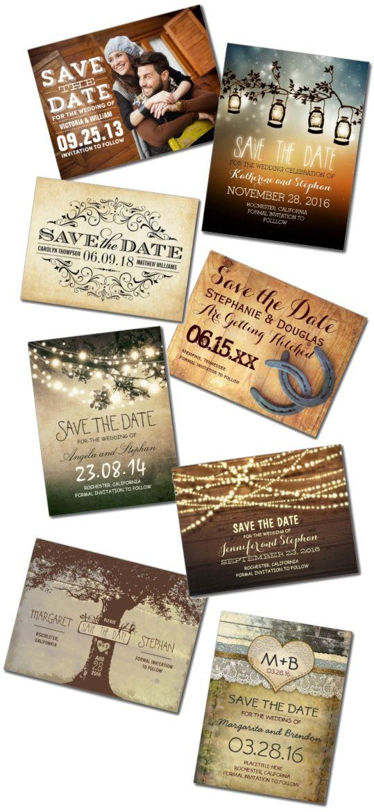 Mariage - Rustic Save The Date Postcards & Postcard Template Designs