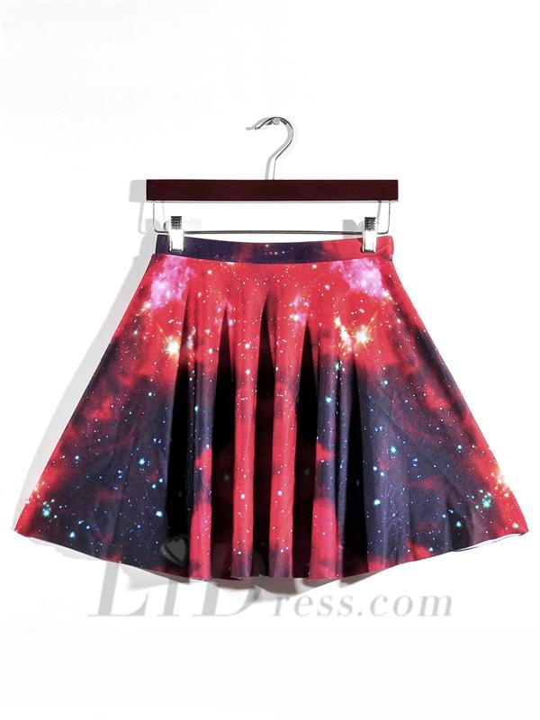 Boda - Womens Boutique Selling Digital Printing Nebula Red And Skirt Skt1190