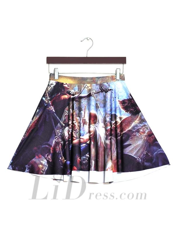 Wedding - 2016 Hot Spring Star Digital Printing War Pleated Skirt Skt1177