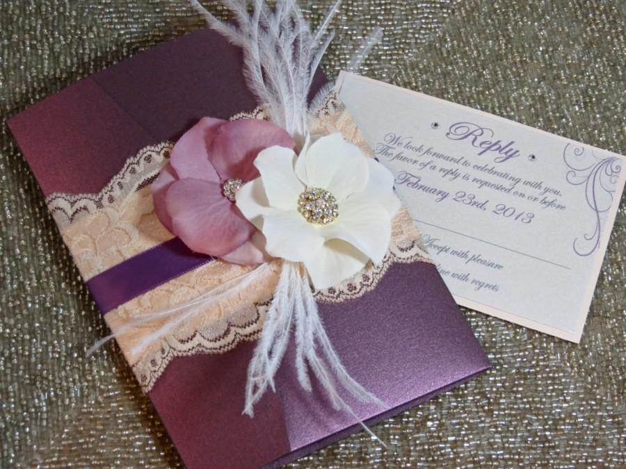 Vintage Glamour Lace Wedding Invitation Plum Wedding Invitation