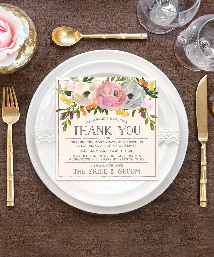 Wedding thank you place card wedding reception place - Decoration table pour invites ...
