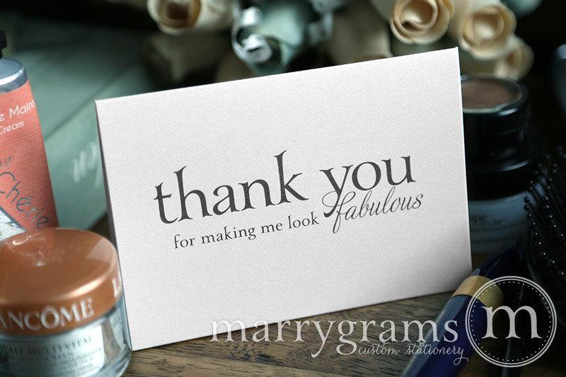 زفاف - Wedding Card to Your Stylist, Hair and Makeup Artist - Thank You for Making Me Look Fabulous - Wedding Vendor Tip Note Card