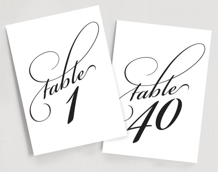 printable table numbers instant download 1 40 elegant script table