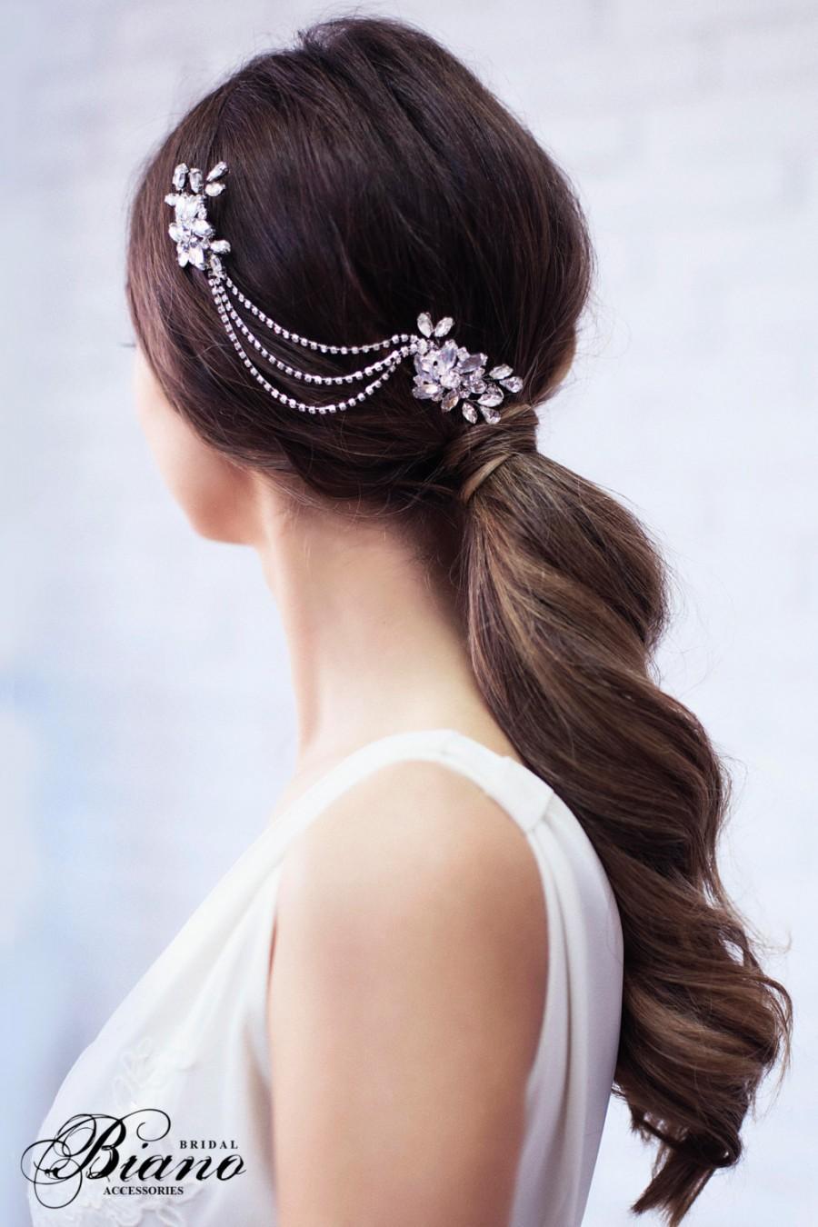 زفاف - SALE- Bridal Headpiece, Bridal Chain Headpiece, Wedding Rhinestone Comb, Silver Rhinestone Hairpiece, Wedding Hairpiece