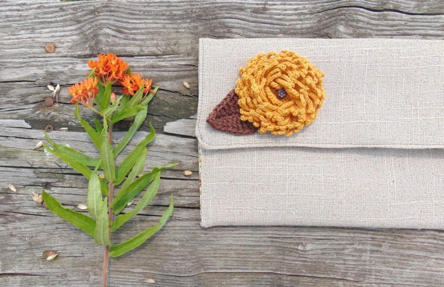 Wedding - Burlap Linen Clutch, Fall Wedding, Clutch Bag, Rustic Wedding, Bridesmaid Gift, Clutch Purse, Clutch with flower Pin, Wedding accessories