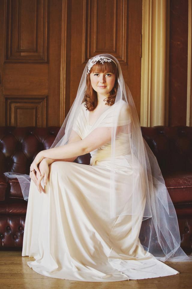 Wedding - Laura - Silk Waltz Length Veil French Lace