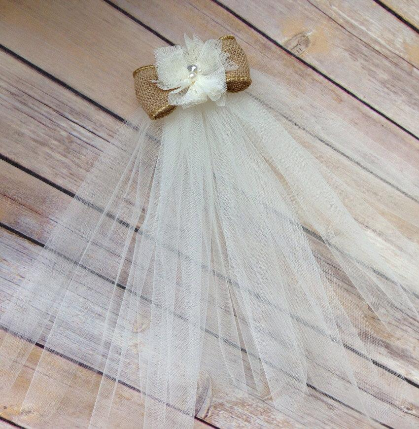 Wedding - Bride to be- Bachelorette party & Bridal shower Veil with ivory tulle and a burlap bow - engagement parties, rehearsal dinner accessories
