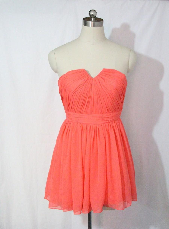 Mariage - Coral Bridesmaid Dress Short Sweetheart Dress Chiffon Coral Strapless Dress-Custom Dress