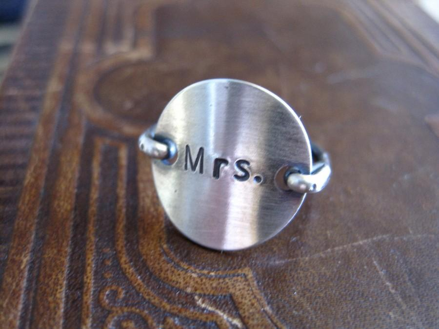 Mariage - Mrs.wedding love  sterling silver stamped ring