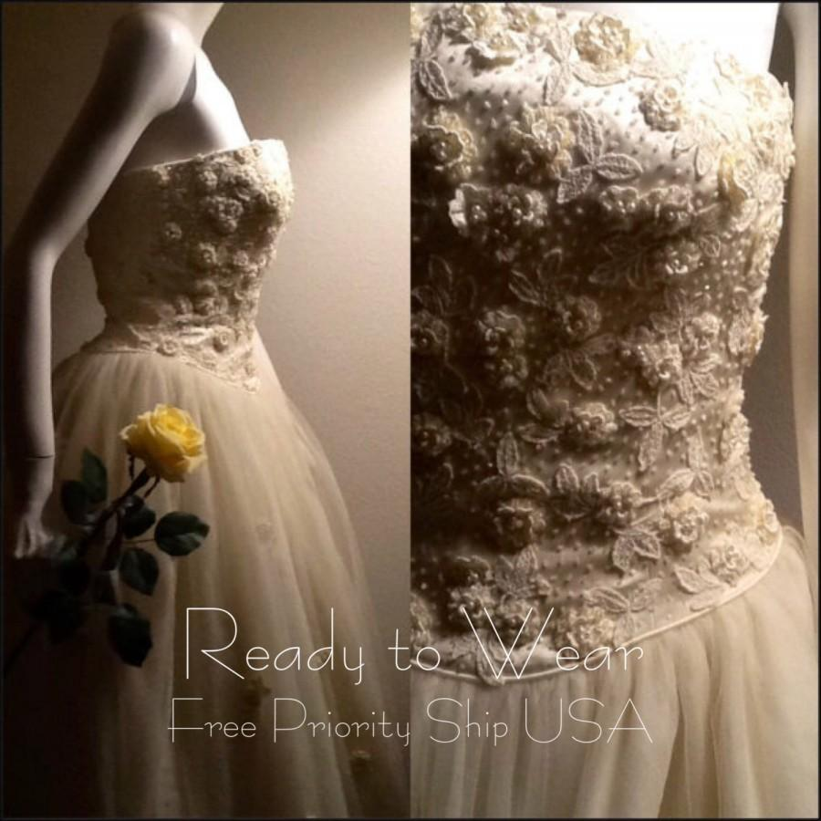50% OFF Vtg Ivory Wedding / Bride Dress / Cream Bridal Gown / Tulle ...