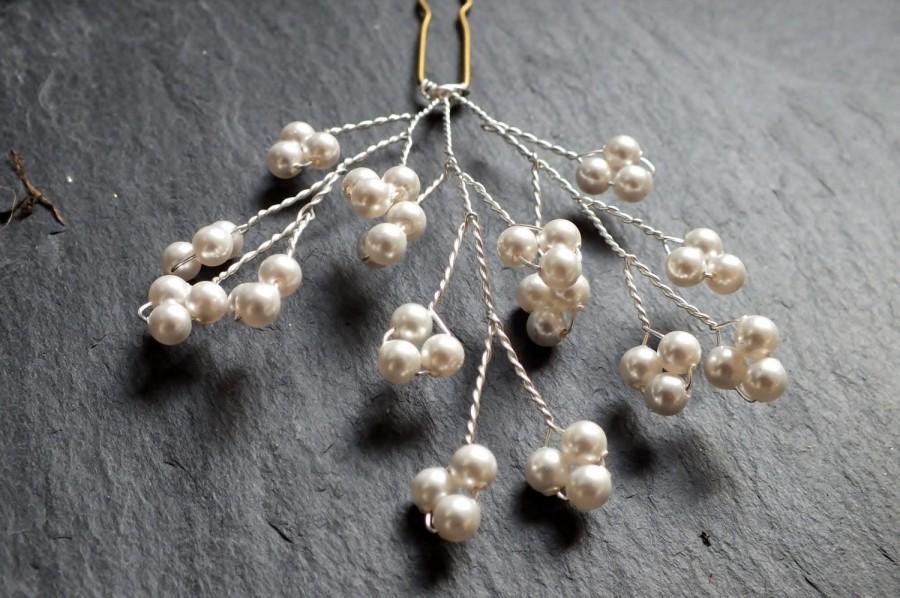Свадьба - pearl hair pins, gypsophila hair accessory, baby's breath bridal hairpin, bridesmaid pin