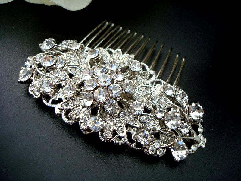 Свадьба - Wedding Bridal Hair Comb,Wedding Hair Comb,Bridal Hair Comb Flower Hair Comb,Bridal Rhinestone Hair Comb,Statement Hair Comb,Silver,ADELIA