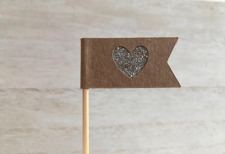 Mariage - x 12 Silver Glitter Heart Cake/ Cupcake Flag Toppers (Wedding, Party, Baby Shower Toppers)