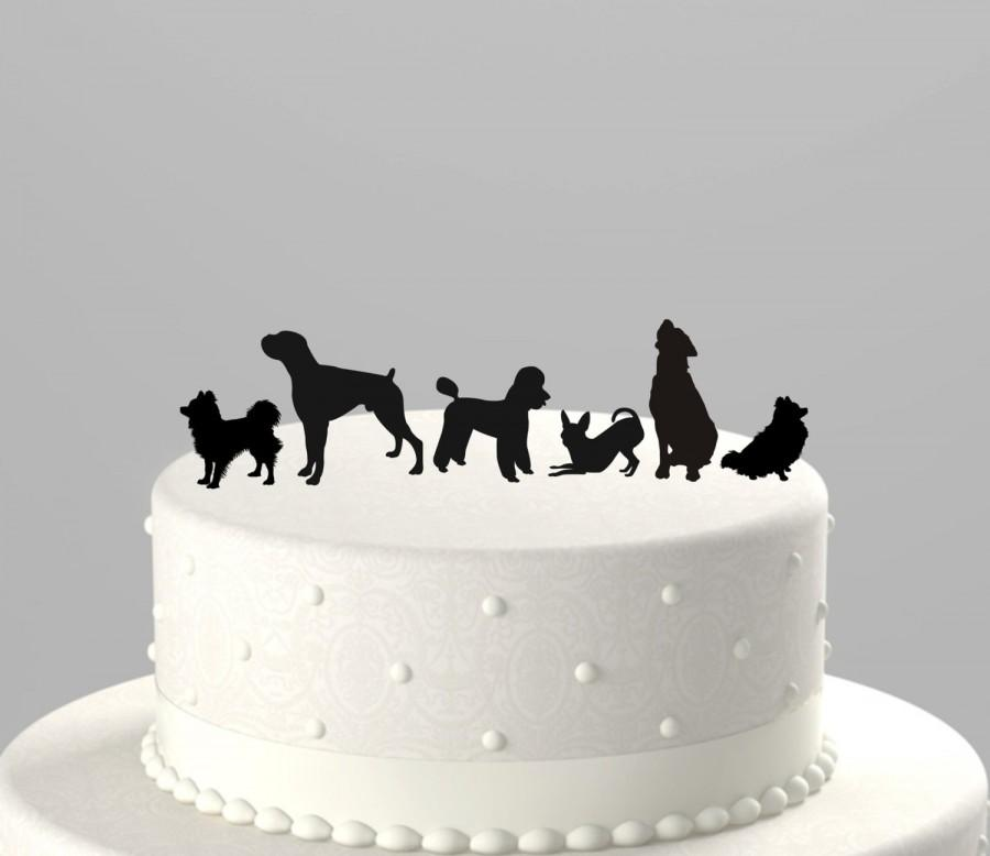 Mariage - Add a Pet - Dog Silhouette Cake Topper, Cupcake Topper Acrylic Cake Topper [CTpd]
