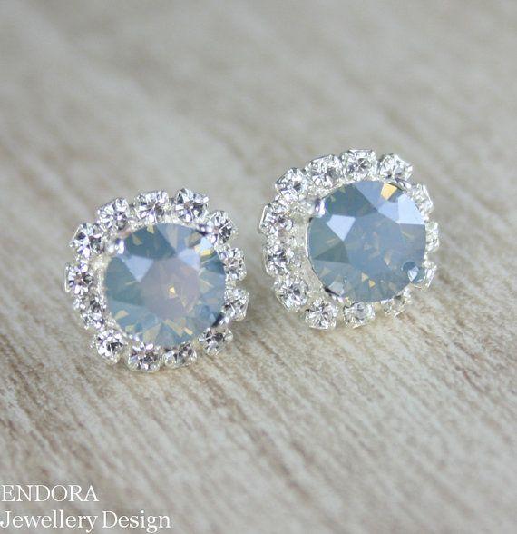 Blue Bridal Earrings Something Dusty Wedding Swarovski Jewelry Powder