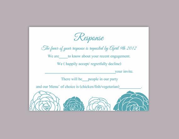 Wedding - DIY Wedding RSVP Template Editable Word File Download Rsvp Template Printable RSVP Cards Floral Blue Rsvp Card Rose Elegant Rsvp Card