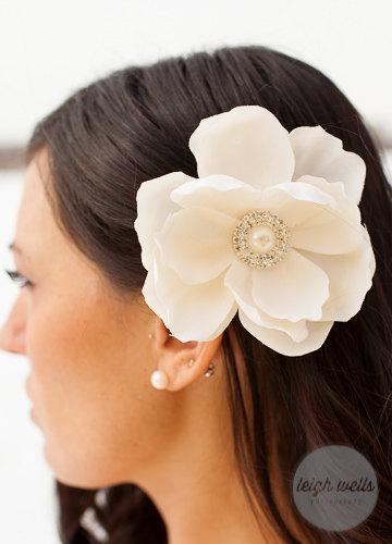 Wedding - Cream off white ivory Magnolia flower hair clip with rhinestone pearl embellishment Bridal clip bride wedding accessories