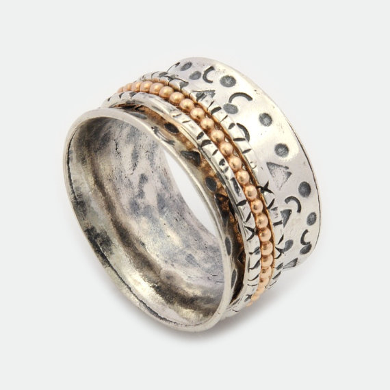 wide spinner rings sterling silver gold filled spinning
