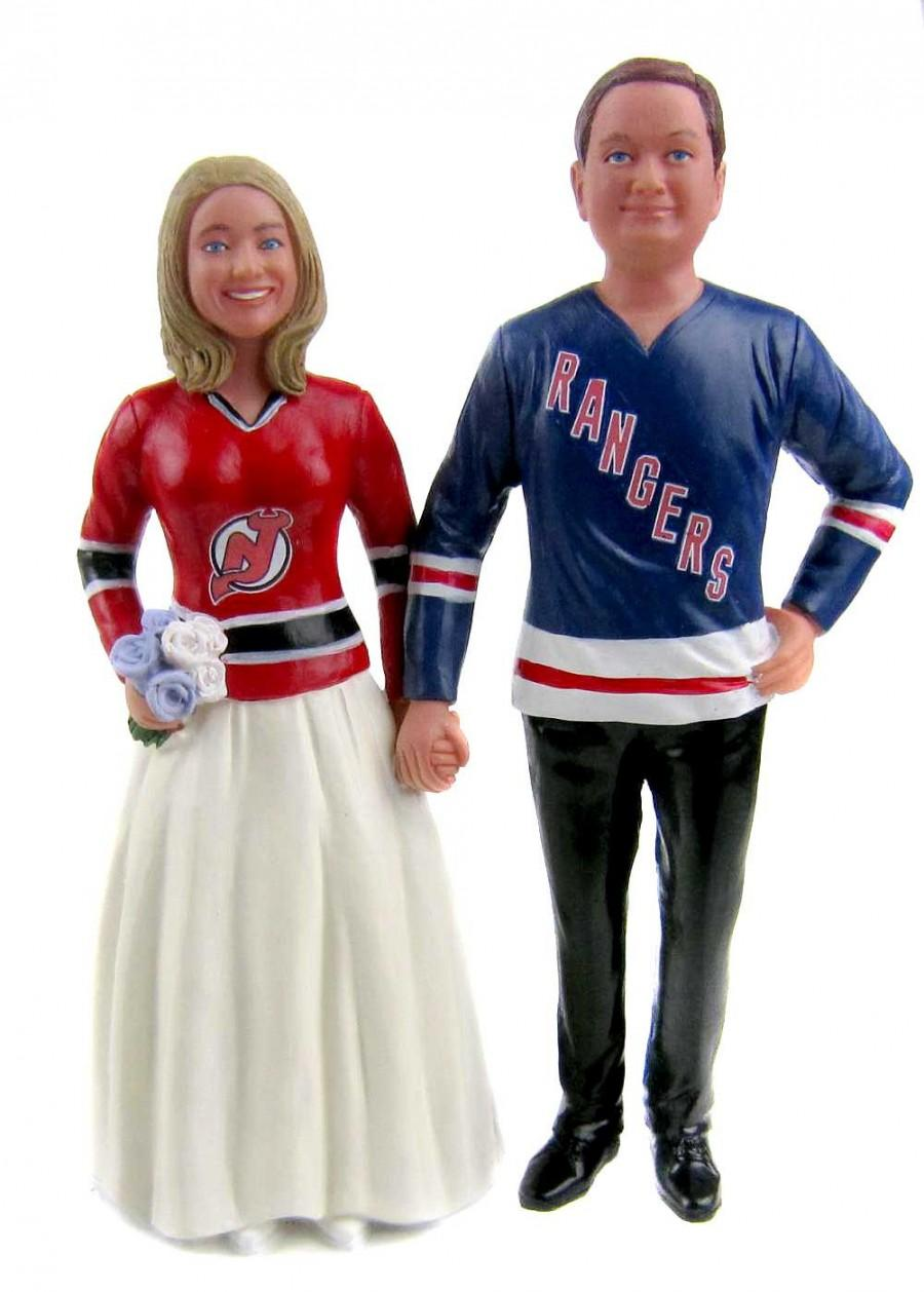 Wedding - Custom Made Hockey Jersey Wedding Cake Topper