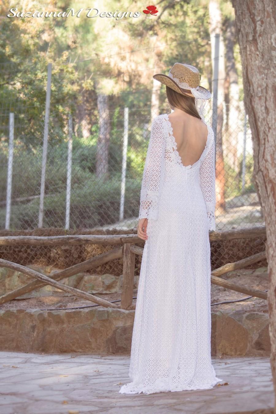 Wedding dress long bridal gown 70s bridal dress bell for Bell sleeve wedding dress