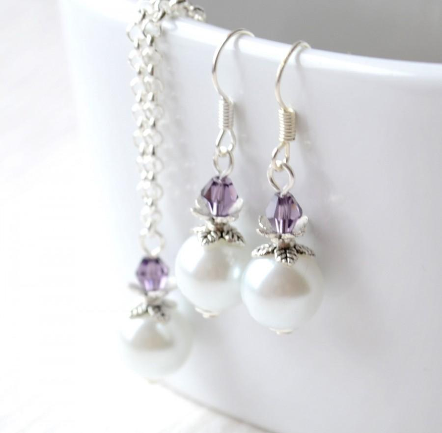 Mariage - Violet purple Bridesmaids jewelry set purple necklace and earrings Bridesmaid gift jewelry wedding party crystal necklace and earrings