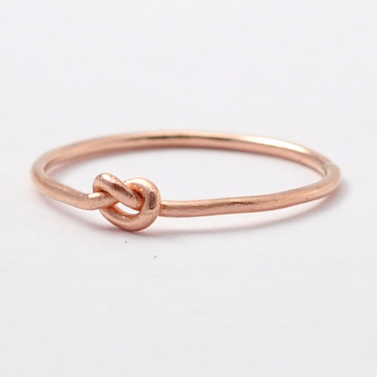 Wedding - Knot Promise Ring: Solid 14K Rose Gold Ring, 10 Year Anniversary Gift