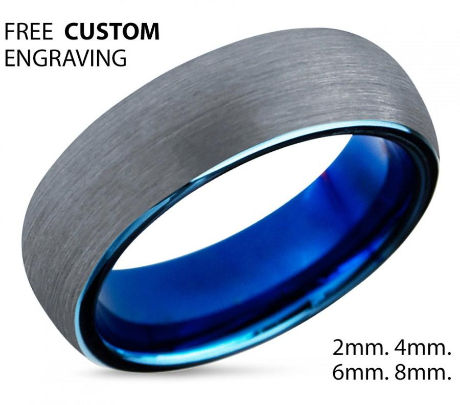Wedding - Tungsten Ring Mens Blue Brushed SilverWedding Band Tungsten Carbide 8mm Tungsten Man Wedding Male Women Anniversary Matching All Sizes