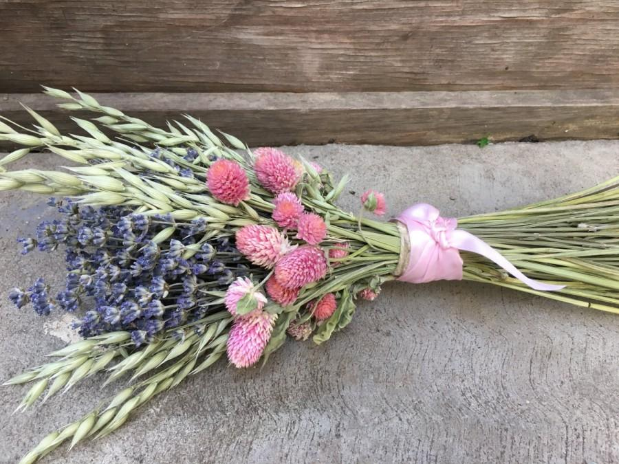 Rustic Chic Lavender Wedding Bouquet Dried Flowers Bridal Bridesmaid
