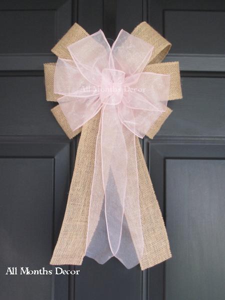 Wedding - Sheer Organza Burlap Bow Many Colors Available