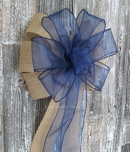 Wedding - Navy Blue Organza Burlap Pew Bow