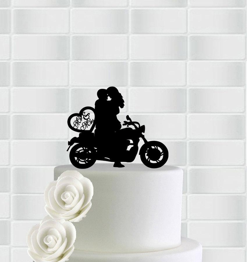 Hochzeit - Wedding Motorcycle Cake Topper,Mr & Mrs Bicycle Cake Topper,Bike Wedding Cake Topper,Bride And Groom On Bike Cake Topper Silhouette