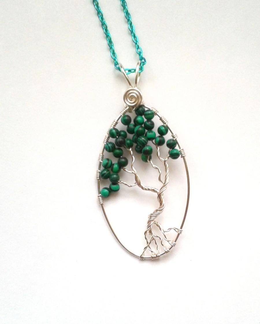 Hochzeit - Tree Of Life Pendant, Wire Wrapped Malachite Gemstone Tree Of Life Pendant, Wire Wrapped Green Jewelry, Nature Jewellery, Goldstone Jewelry