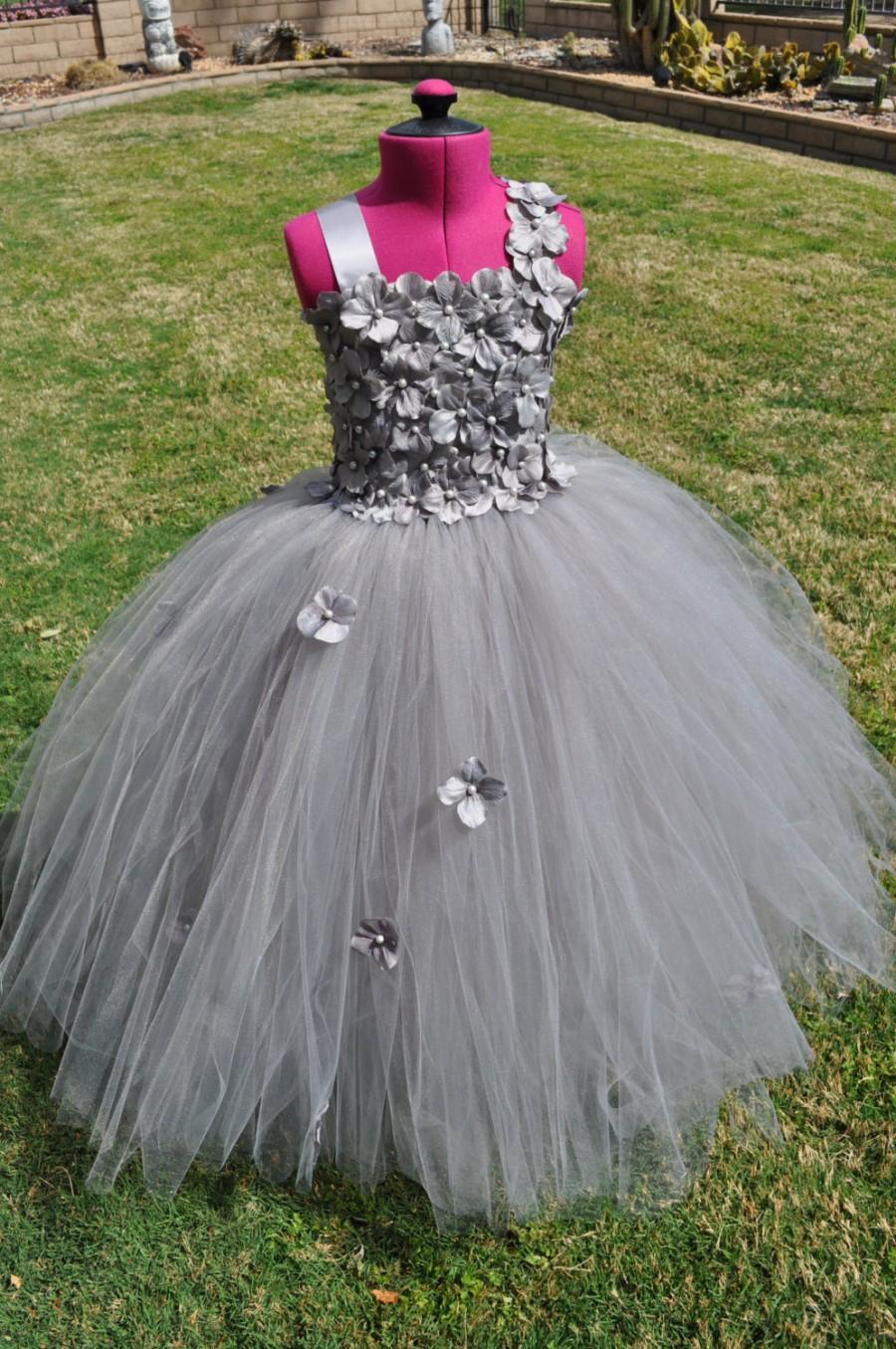 Wedding - Grey Special Occasion Girls Dress, Baby Grey Dress,Toddler Silver Gray Dress, Infant Grey Dress, Silver Grey Flower Girl Dress,