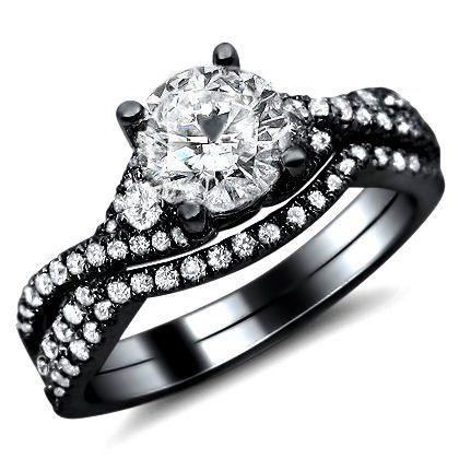 Mariage - 1.25ct Round Diamond Engagement Ring Wedding Set 18k Black Gold With A 0.50ct Ce