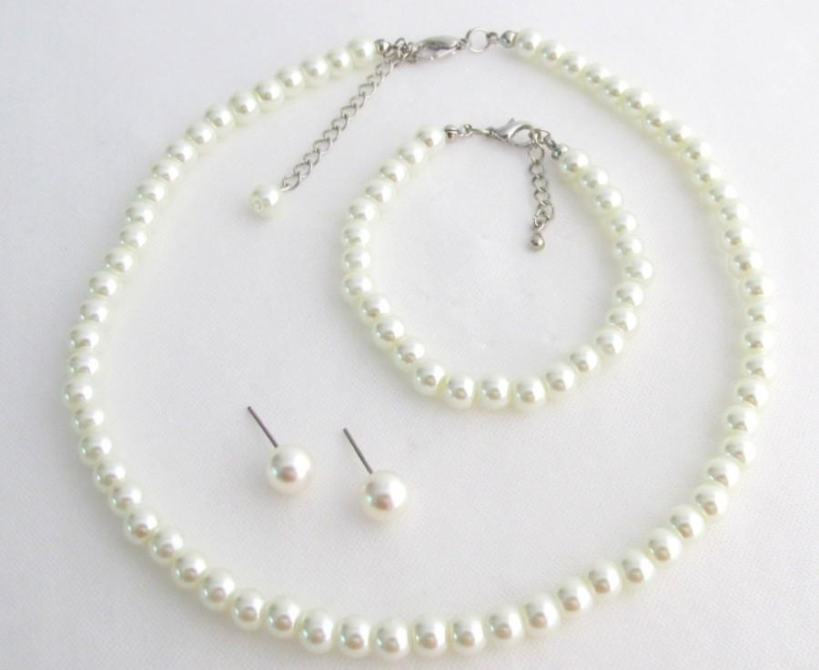 Wedding - ivory pearl set,pearl necklace,pearl bracelet,ivory glass pearl,bridesmaid gifts Flower Girl Jewelry Wedding Set Free Shipping In USA