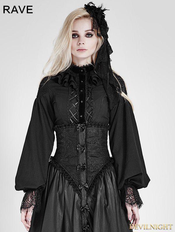 Hochzeit - Black Gothic Palace Style Chiffon Blouse for Women