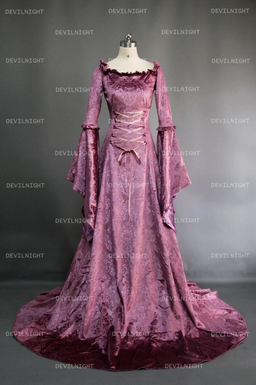 Hochzeit - Purple Fantasy Velvet Medieval Gown
