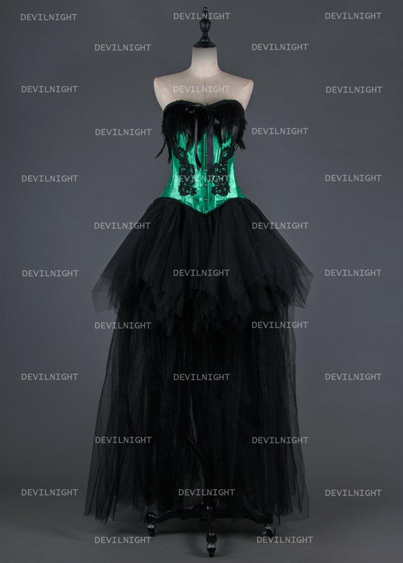 Hochzeit - Black and Green Gothic Burlesque Corset Hign-Low Prom Party Dress