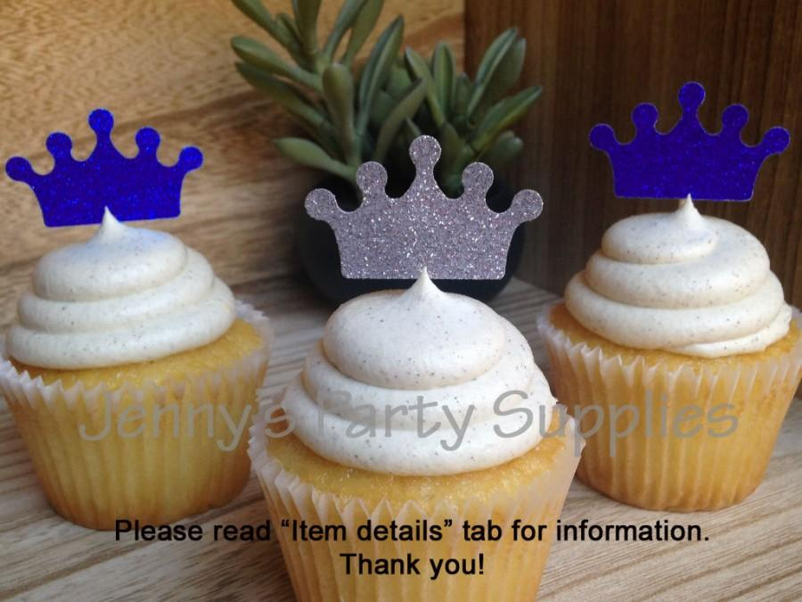 Royal Prince Baby Shower, Gold Crown Cupcake Toppers, Royal Prince Toppers, Little  Prince Cupcake Toppers