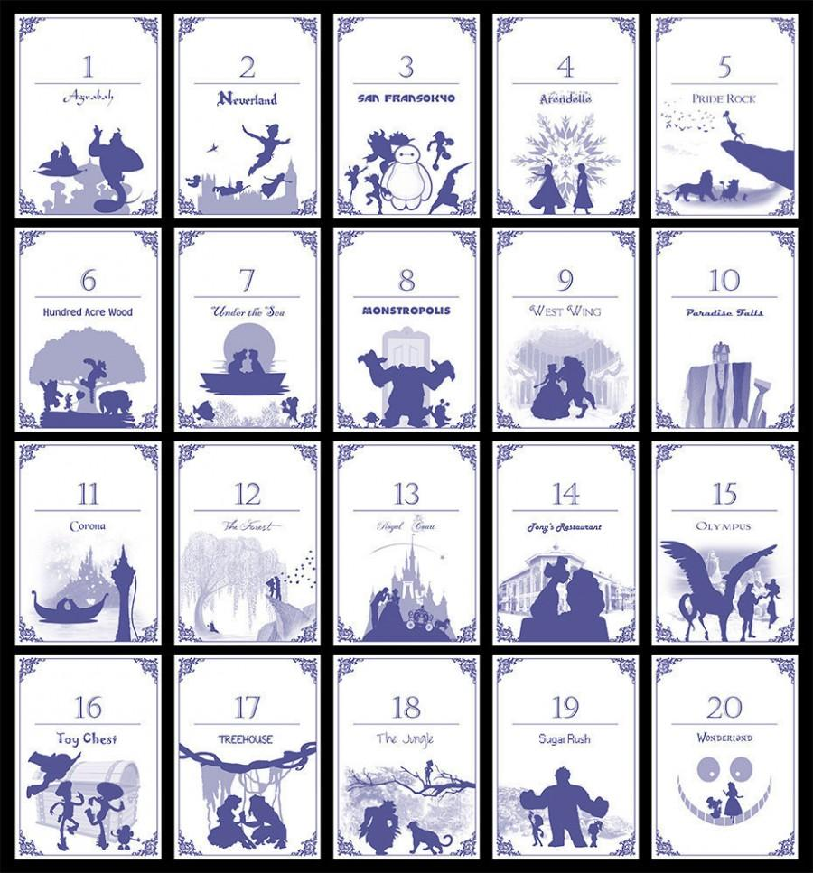 Wedding - Disney-themed Table Numbers (Set of 20) - Digital/Self-Print