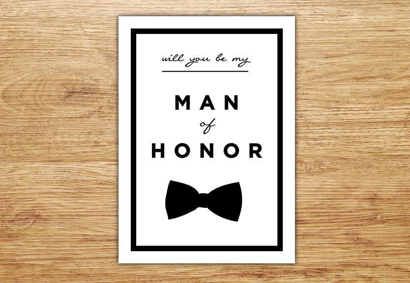 Wedding - Will You Be My Man of Honor, Wedding Party Card, Man of Honor, Bridal Invitation, Best Man Card, DIGITAL, Bowtie, Male Bridesmaid, Modern