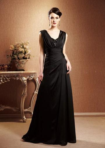 Wedding - V-neck Zipper Sleeveless Black Burgundy Floor Length