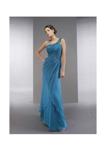 Wedding - One Shoulder Zipper Chiffon Sleeveless Floor Length