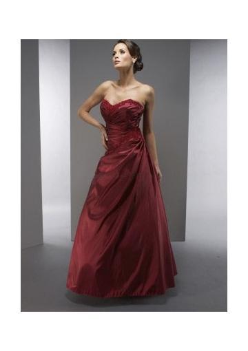 Свадьба - Zipper Sweetheart Sleeveless Satin Appliques Burgundy Floor Length