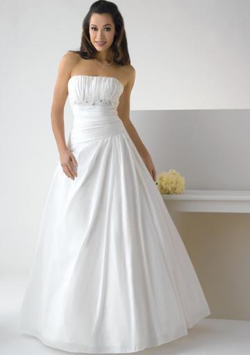 Wedding - Zipper Strapless Floor Length Satin White Ball Gown